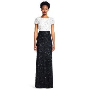 Adrianna Papell Sequin Beaded Formal Maxi Dress Gown Ivory Black Size 4 NWT